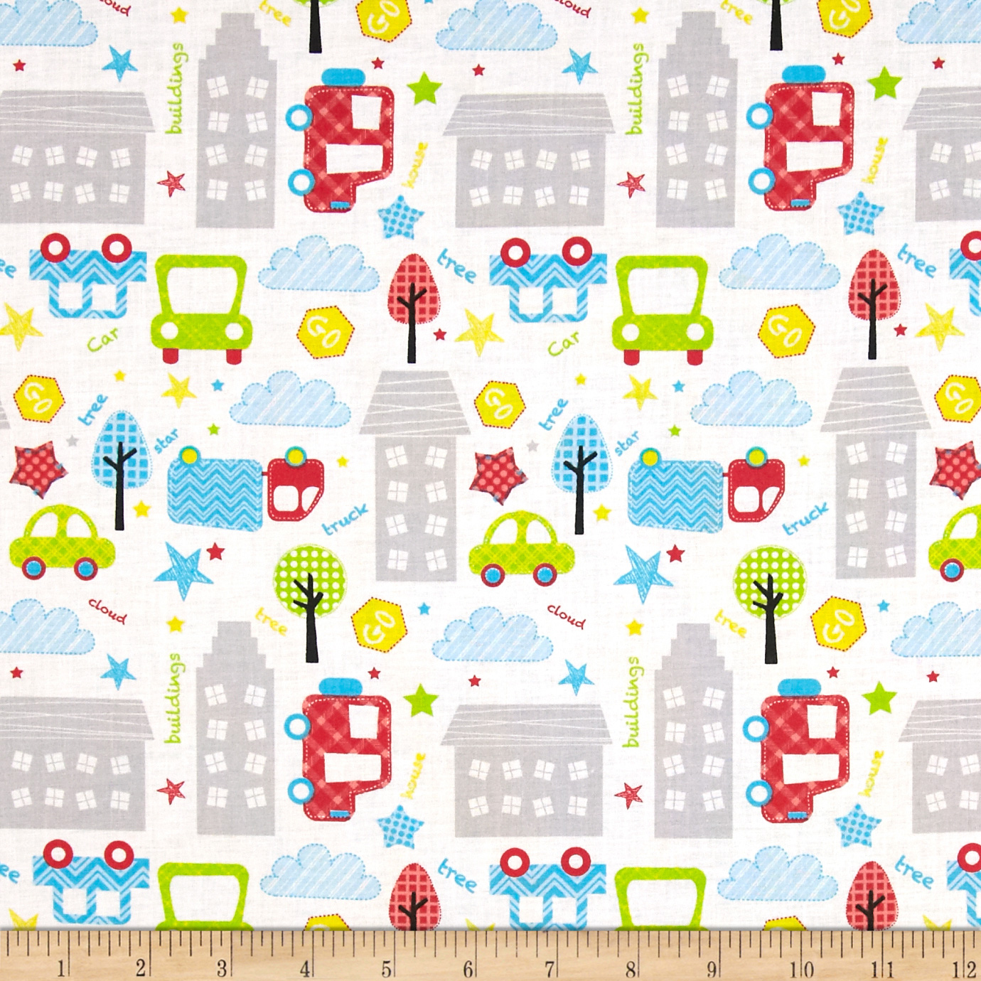 Child 39 s play city multi blue discount designer fabric for Grey childrens fabric