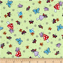 Mary's Fairies Butterflies & Mushrooms Light Green