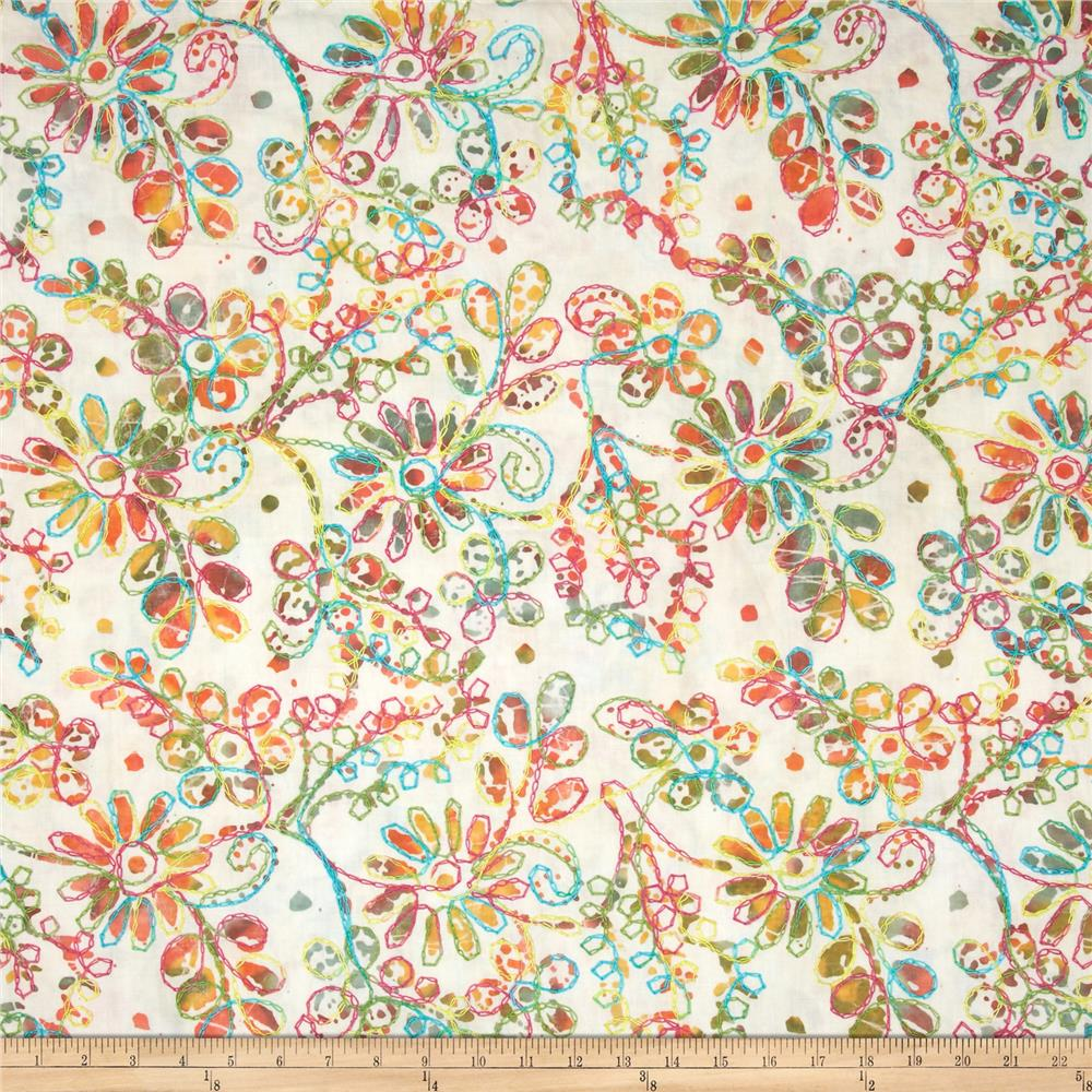 Indian Batik Embroidered Daisy Coral/Aqua