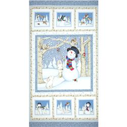 Snow Babies Flannel Panel Blue