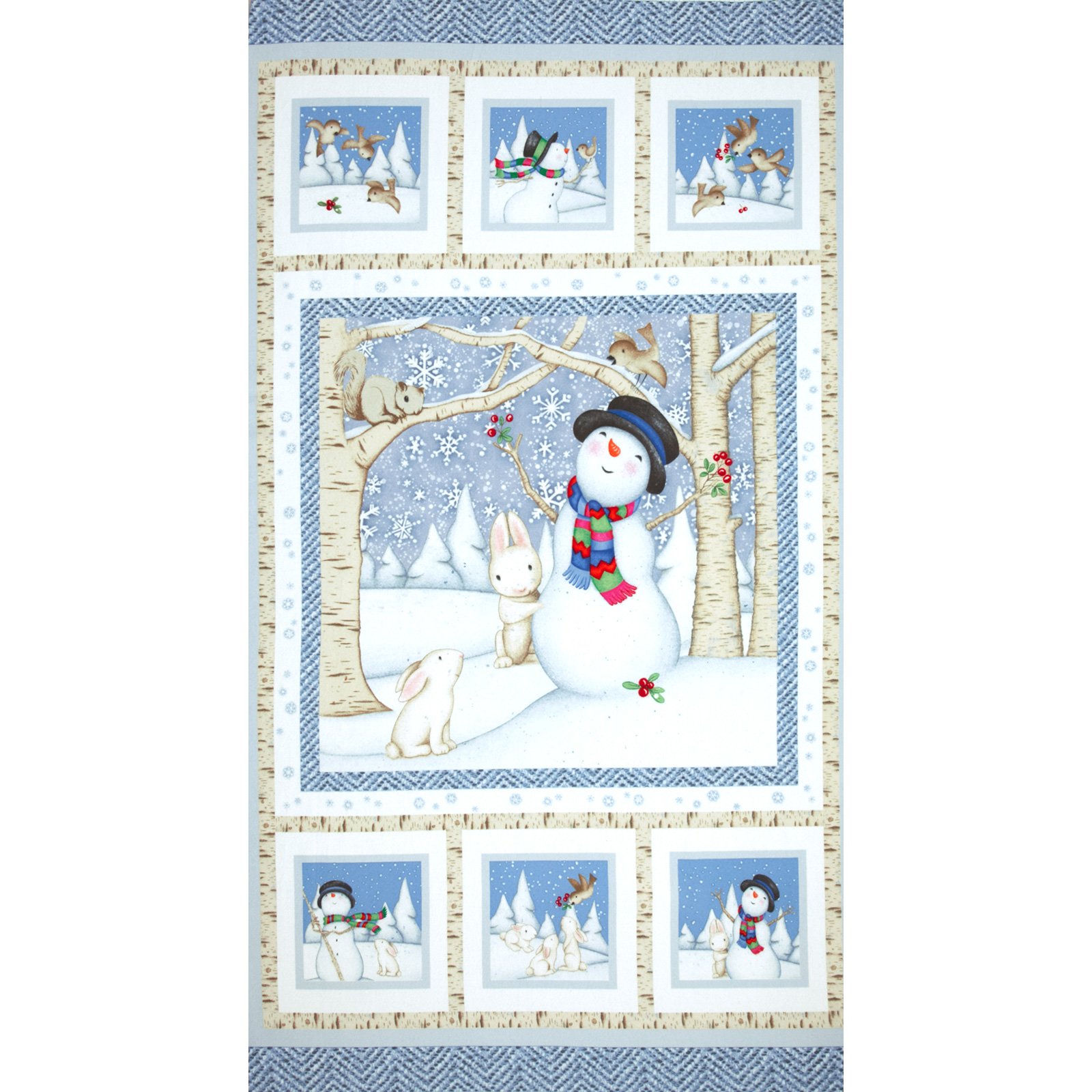 Snow Babies Flannel Panel Blue Fabric