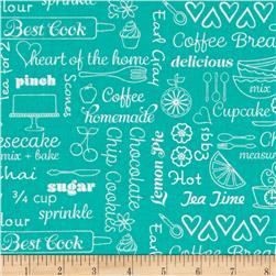 Kitchen Love Delicious Words Turquoise