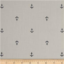 Kaufman Cambridge Cotton Mini Print Anchor Grey