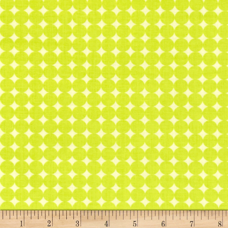 Image of Contempo Owls And Pals Round Grid Lime Fabric