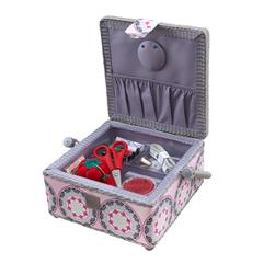 Sewing Basket & Basic Notions Kit Pink/Gray