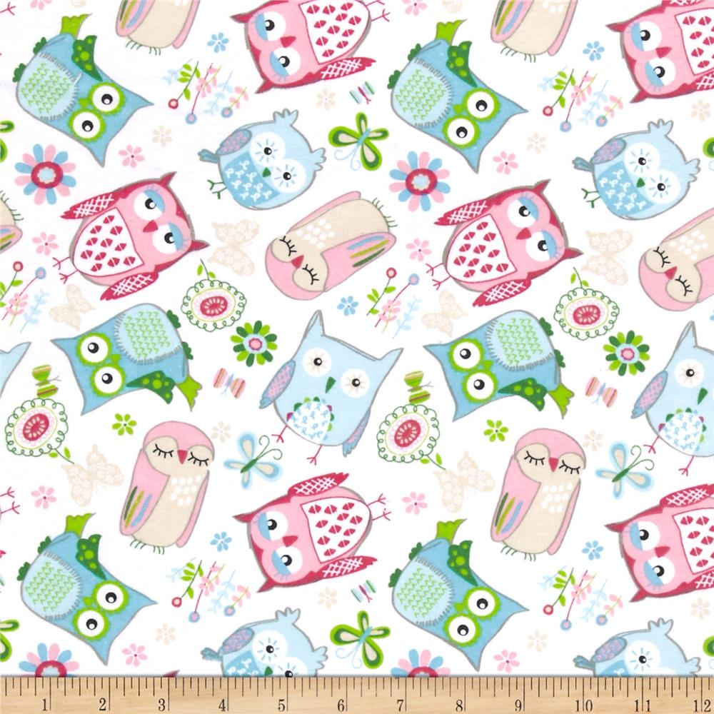 Comfy Flannel Tossed Owls White Fabric