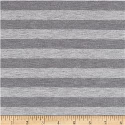 Stretch Cotton Rayon Jersey Knit Stripes Heather Grey