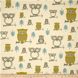 Premier Prints Hooty Owl Summerland/Natural Fabric