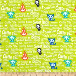 Skelanimals Baby Talk Green Fabric