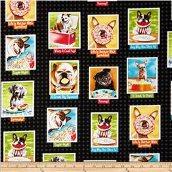 Eat, Drink & Be Funny Dog Blocks Black