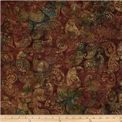 Bali Batiks Handpaints Paisley Rust Fabric