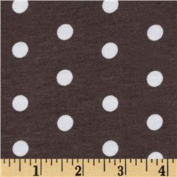Telio Dakota Stretch Rayon Jersey Knit Dots Brown/ Powder White
