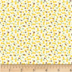 Vintage 30'S Florals Little Square & Flower Yellow