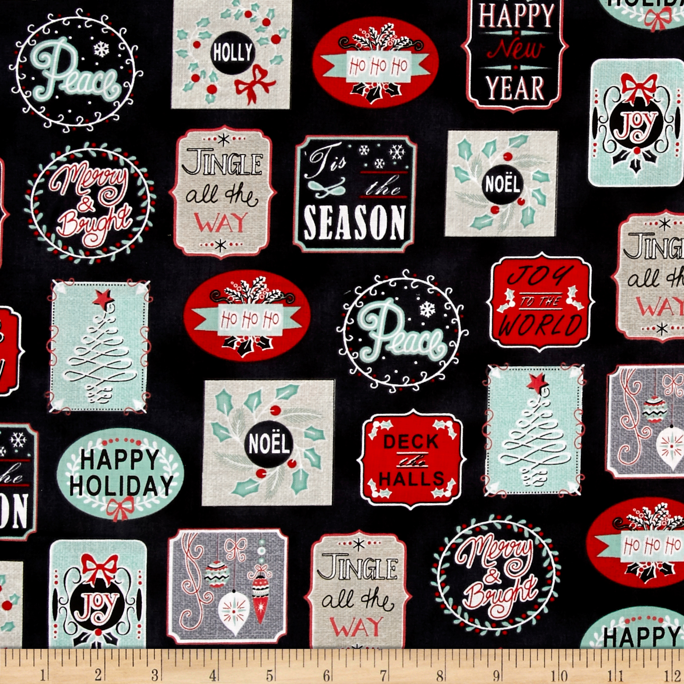 Christmas Wishes Holiday Work Labels Black Fabric by Stardom Specialty in USA