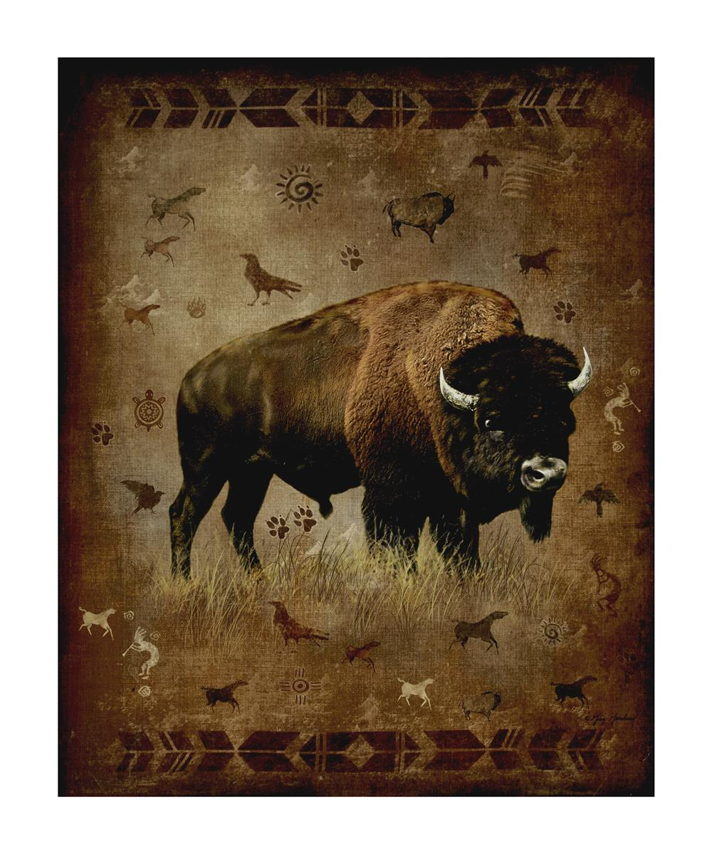 Penny Rose Majestic Outdoors 2 Digital Bison 35'' Panel Fabric