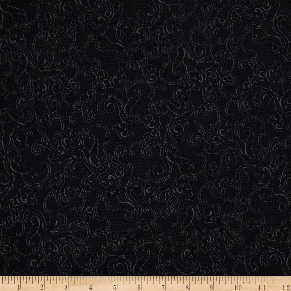 Embossed Double Knit Shadow Flourish Black