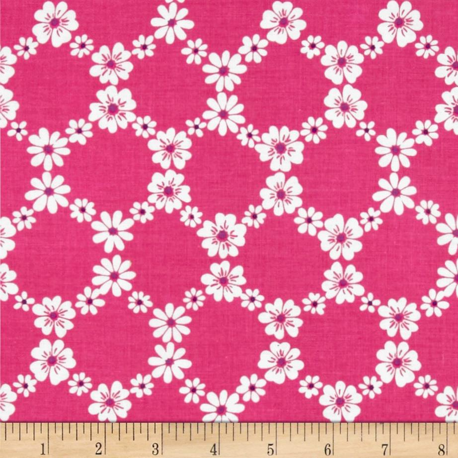 Michael Miller Happy Tones Jemma Floral Lattice Pink