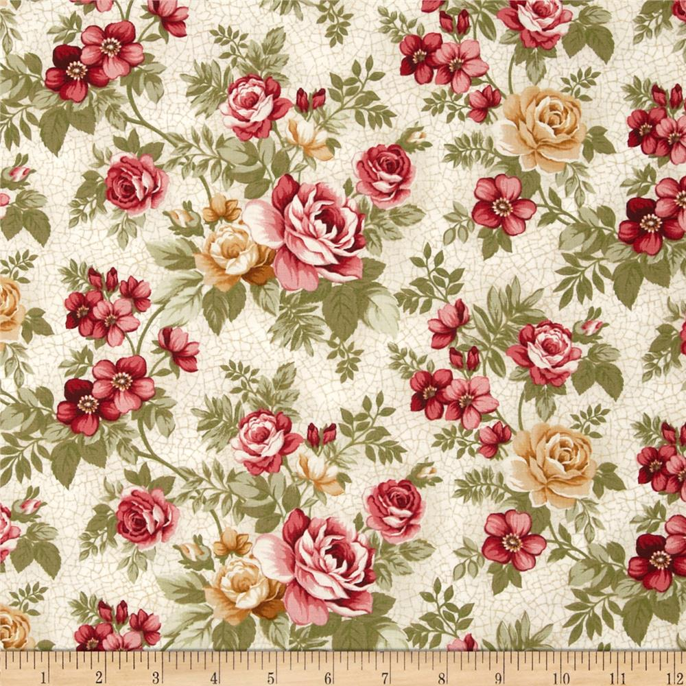 Summer Festival Medium Floral Roses Cream