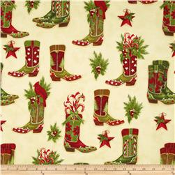 Holly Jolly Christmas Holiday Cowboy Boots Natural