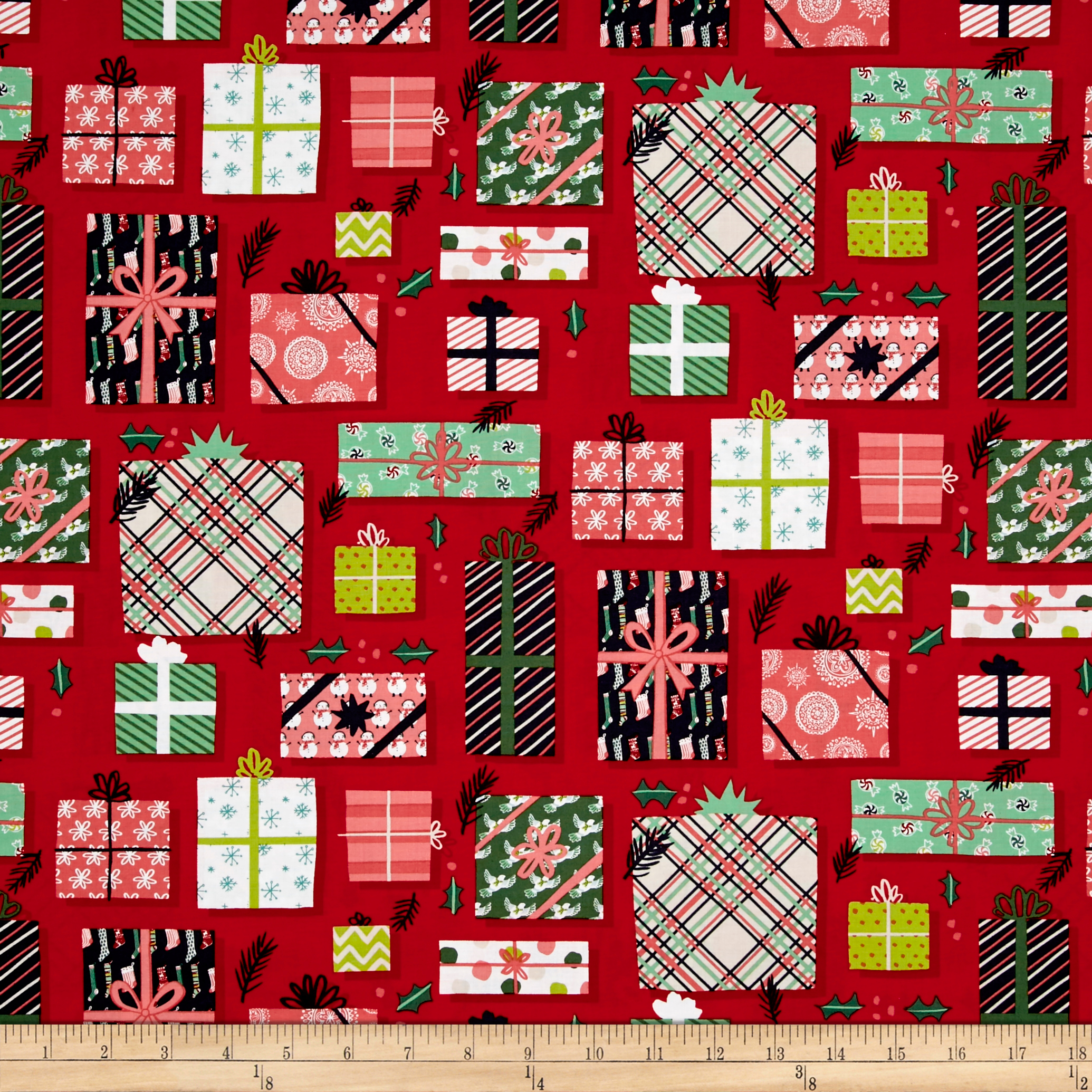 Image of 25 Days of Christmas Gifts Light Red Fabric