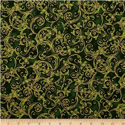 Kaufman Winter's Grandeur 4 Metallics Scrolls Evergreen