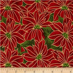 Poinsettia Glitz Metallic Packed Poinsettias Red