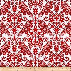 Riley Blake Large Damask White/Red Fabric