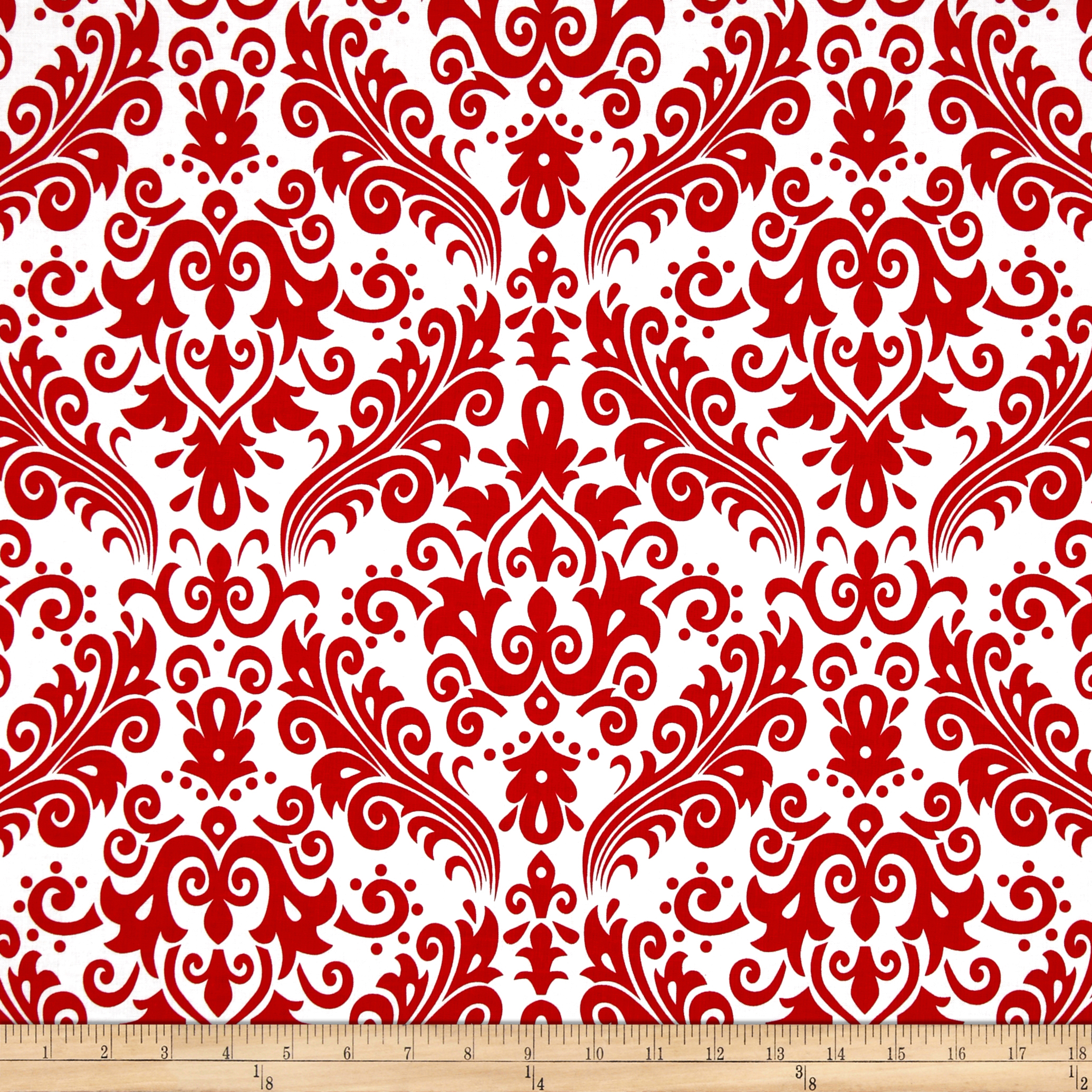 Riley Blake Large Damask White/Red