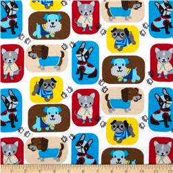 Comfy Flannel Patchwork Dogs White