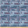 Heritage Words Allover Blue