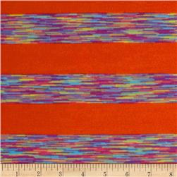 Designer Rayon Blend Jersey Knit Multi Stripes Orange