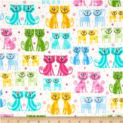 Comfy Flannel Multi Colored Cats White
