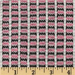 Stretch Soft Sweater Knit Double Stripes Candy Pink/Black