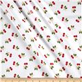 Riley Blake Sew Cherry 2 Laminate Cherry White