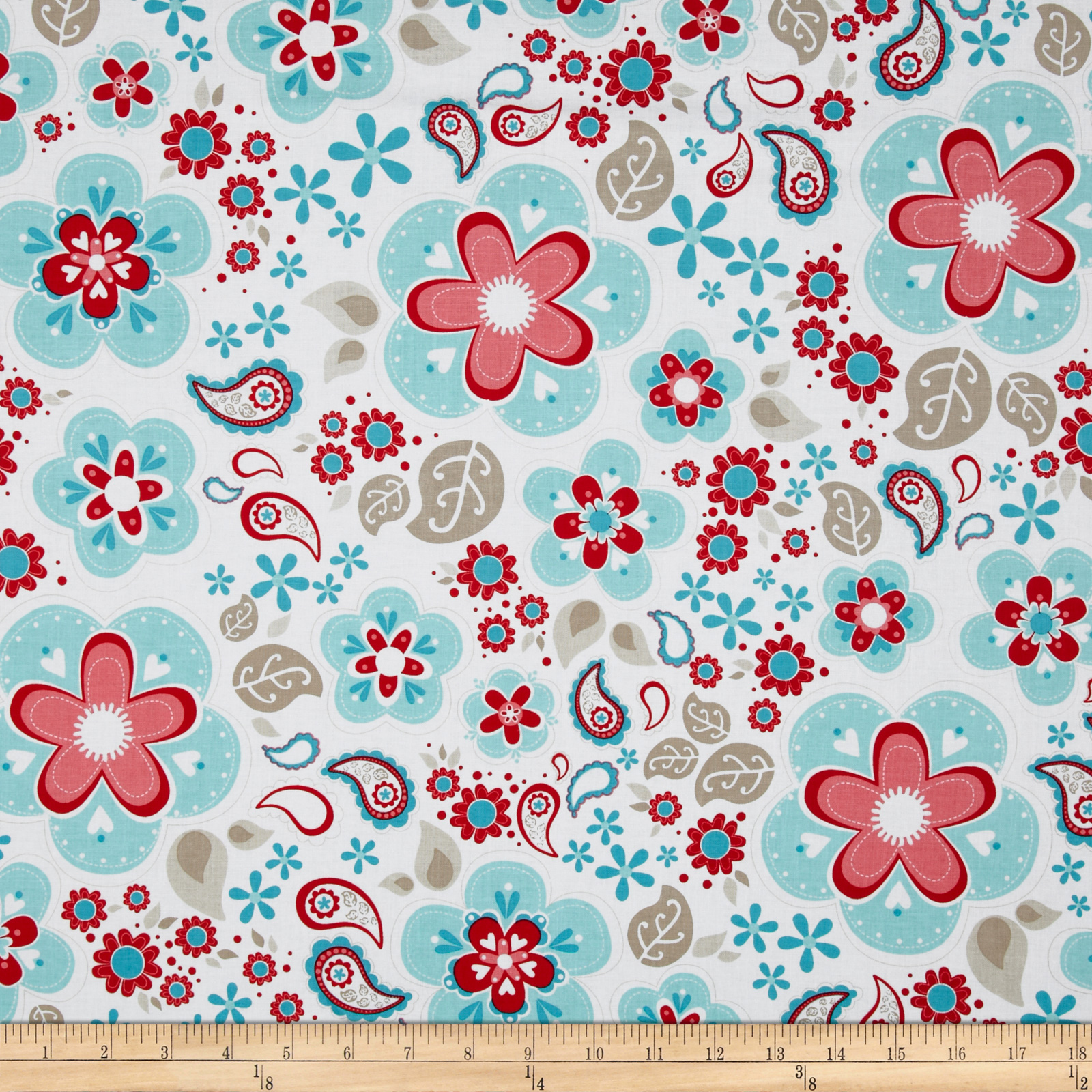 Riley Blake Twice as Nice Large Floral Blue