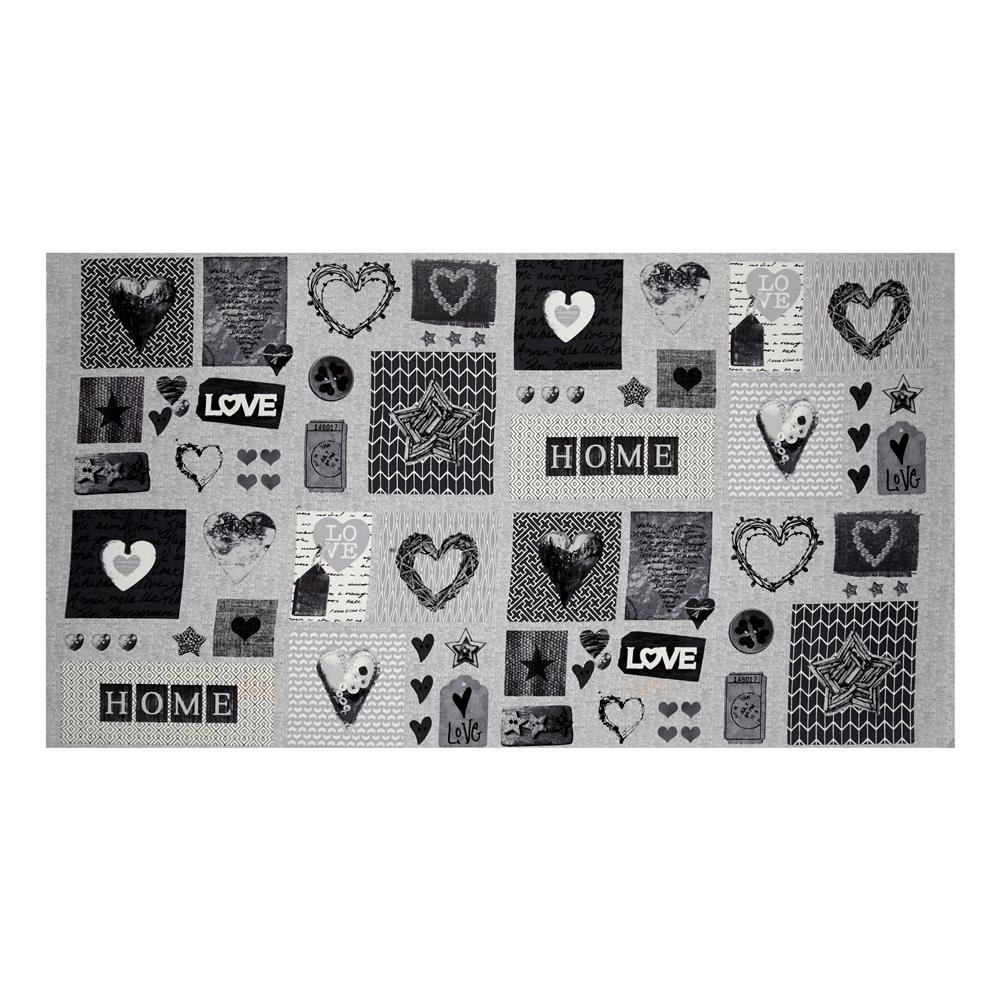 Cosy Home Love Heart and Home 24'' Panel Gray Fabric