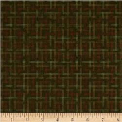 Moda Boundary Water Flannel Plaid Forest Green