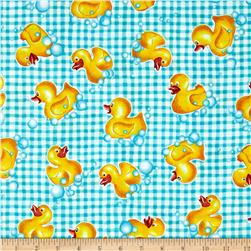 Tub Time Little Duck Gingham Aqua
