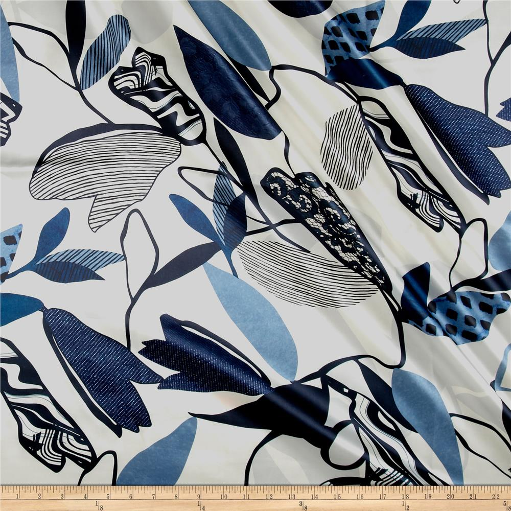 Italian Designer Silk Charmeuse Large Abstract Leaves Blue/White Fabric
