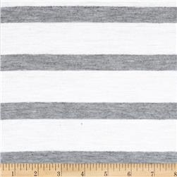 Stretch Yarn Dyed Jersey Knit Stripes White/Grey Fabric