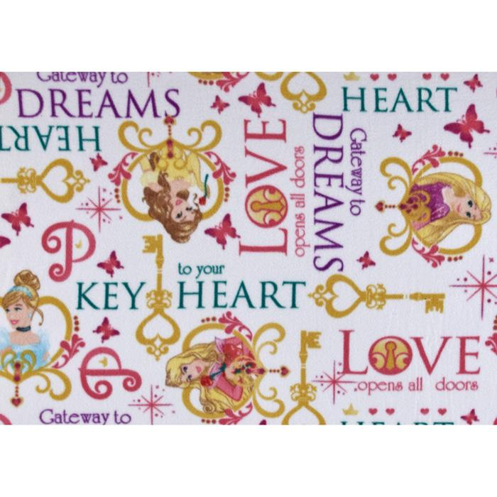 Disney Princess Keys Fleece Key To Your Heart White Fabric