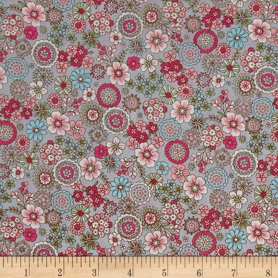 Cosmo Garden Delight Outlined Flowers Lawn Grey
