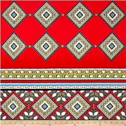 Telio Vienna Jersey Knit Medallion Border Print Red