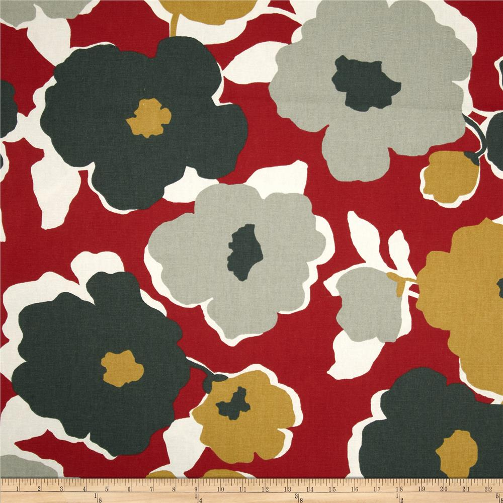 Robert Allen Top Floral Red Lacquer