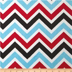 Minky Cuddle Zig Zag Turquoise/Red/Black