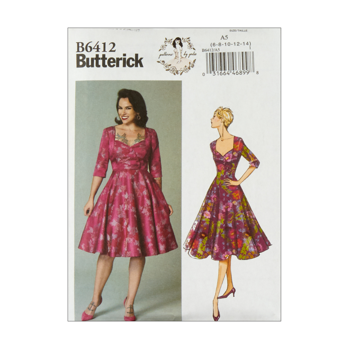 1950s Fabrics & Colors in Fashion Butterick B6412 Patterns by Gertie Sweetheart-Neckline Full-Skirted Dress A5 Sizes 6-14 $11.97 AT vintagedancer.com