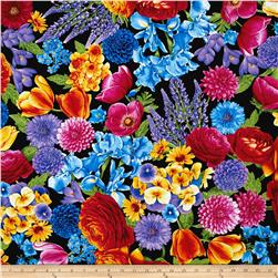 Timeless Treasures Petal Party Mixed Floral Black