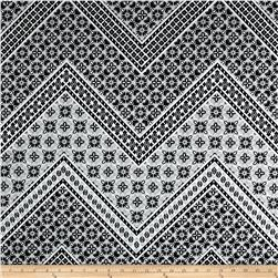 Cotton Stretch Sateen Patterned Chevron Black/Ivory