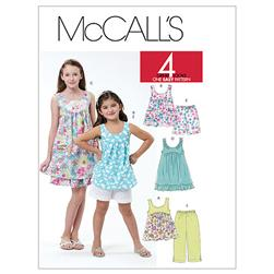 McCall's Children's/Girls' Tops, Dresses, Shorts and Capri Pants Pattern M6065 Size CCE