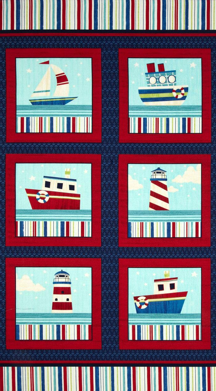 Benartex Ship's Ahoy Panel Navy/Red